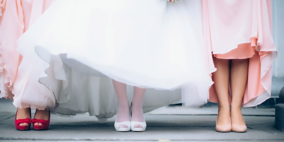 bride, bridesmaids and their shoes