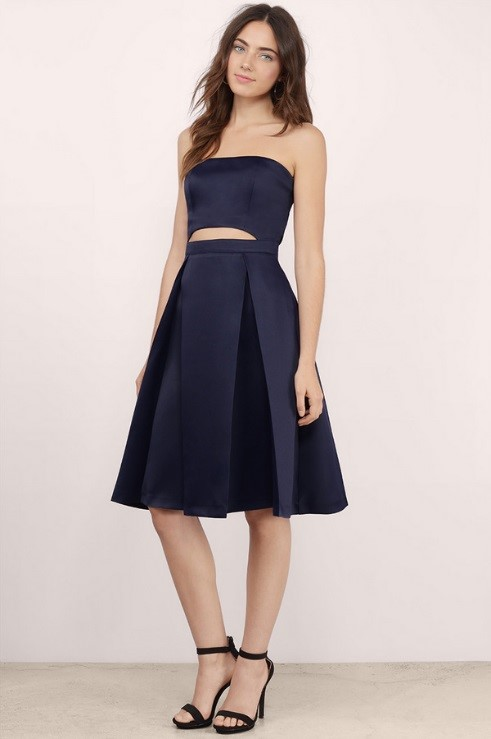 Tobi Navy Pleated Skater Dress