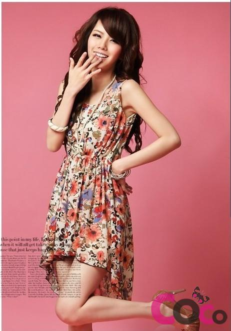 asymmetrical hem floral dress