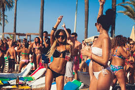girls during a beach party