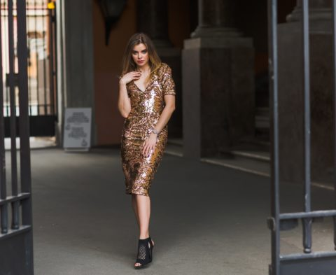 woman in a sequin dress