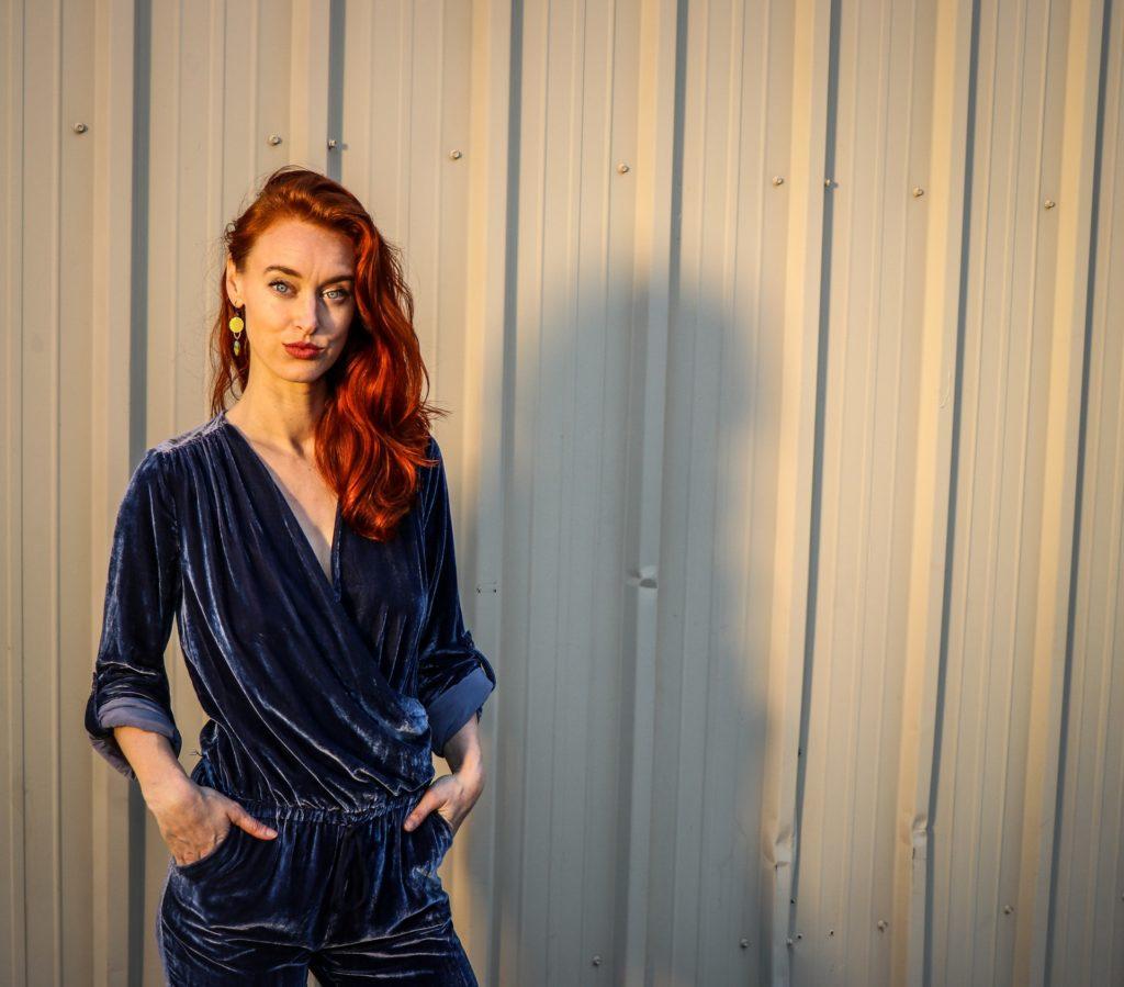 woman in velvet