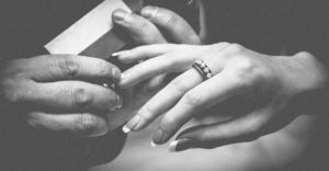 engagement ring in black and white