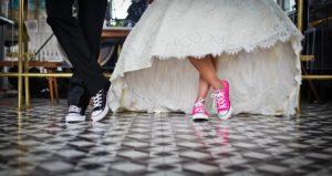bride in sneakers