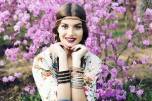 boho girl with flowers