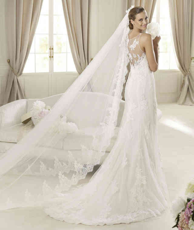 bride in a wedding gown and a veil